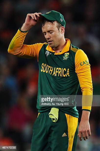 AB de Villiers of South Africa reacts during the 2015 Cricket World Cup Semi Final match between New Zealand and South Africa at Eden Park on March...