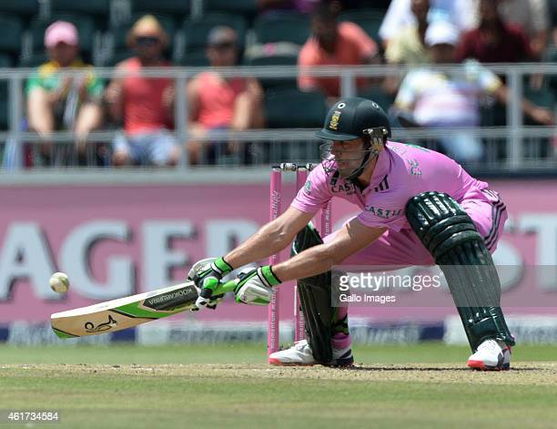 AB de Villiers of South Africa reverse sweeps a delivery during the 2nd Momentum ODI between South Africa and West Indies at Bidvest Wanderers...
