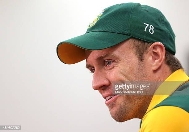 AB de Villiers of South Africa speaks at the post match press conference after the 2015 ICC Cricket World Cup match between South Africa and the West...