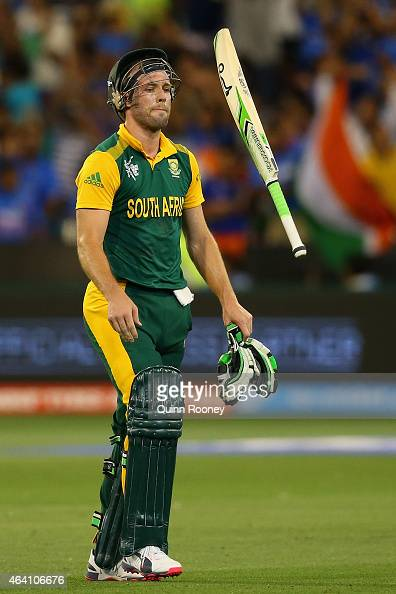 AB de Villiers of South Africa tosses his bat after being run out during the 2015 ICC Cricket World Cup match between South Africa and India at...