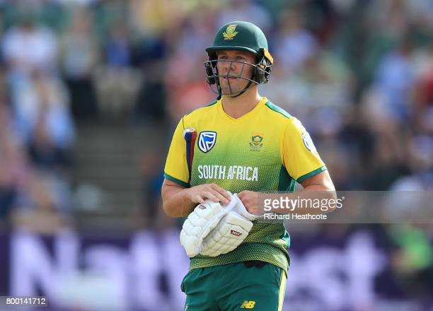 AB de Villiers of South Africa walks off after losing his wicket during the 2nd NatWest T20 International match between England and South Africa at...