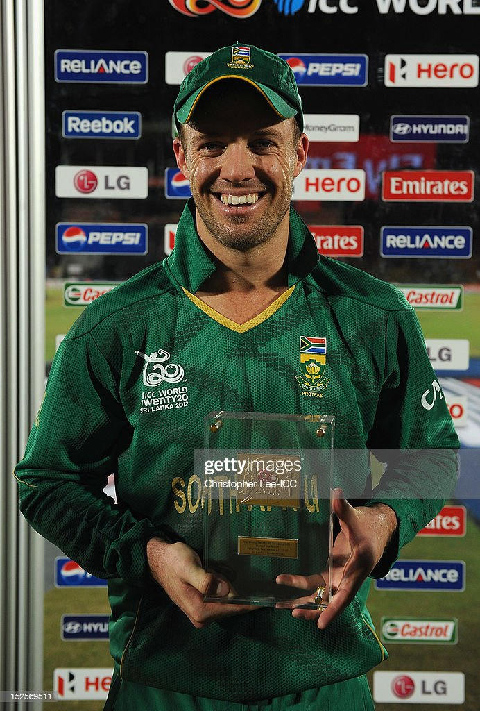 AB De Villiers of South Africa with his Player of the Match award during the ICC World Twenty20 2012 Group C match between Sri Lanka and South Africa at Mahinda Rajapaksa International Cricket Stadium on September 22, 2012 in Hambantota, Sri Lanka.