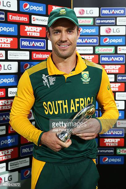 AB de Villiers of South Africa with is player of the match award during the 2015 ICC Cricket World Cup match between South Africa and the United Arab...