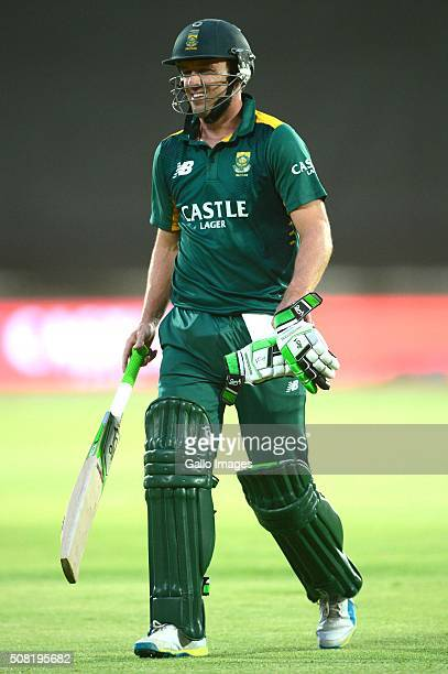 AB de Villiers of the Proteas out for 8 runs during the 1st Momentum ODI Series match between South Africa and England at Mangaung Oval on February...