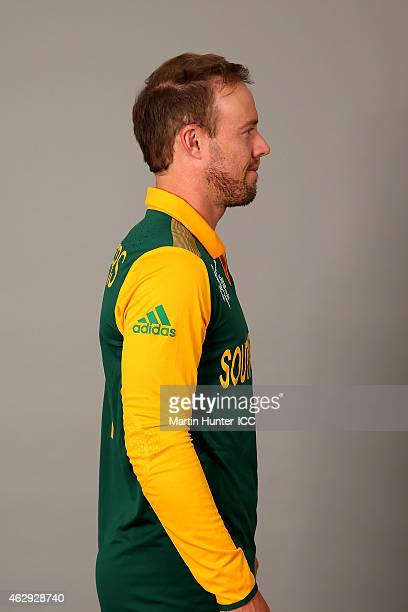 AB de Villiers poses during the South Africa 2015 ICC Cricket World Cup Headshots Session at the Rydges Latimer on February 7 2015 in Christchurch...