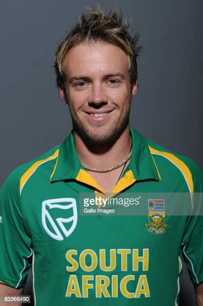 AB de Villiers poses during the South African One Day International team portait session at Grayston Southern Sun on October 20 2008 in Johannesburg...