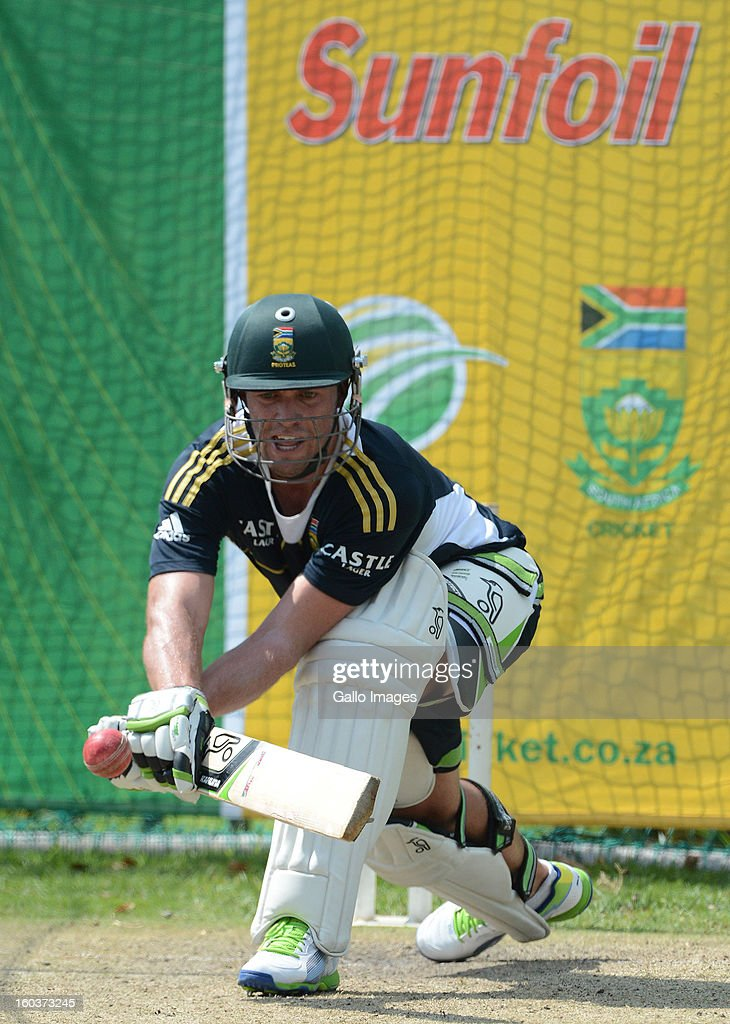 AB de Villiers reverse sweeps a delivery during the South African National cricket team training session at Bidvest Wanderers Stadium on January 30, 2013 in Johannesburg, South Africa.