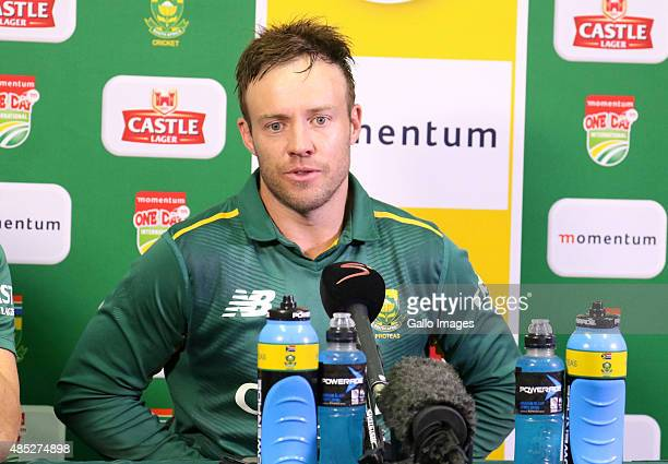 AB de Villiers speaks to the media after the 3rd ODI match between South Africa and New Zealand at Sahara Stadium Kingsmead on August 26 2015 in...
