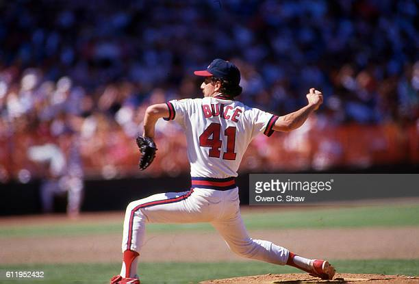 De Wayne Buice of the California Angels circa 1987 pitches at the Big A in Anaheim California