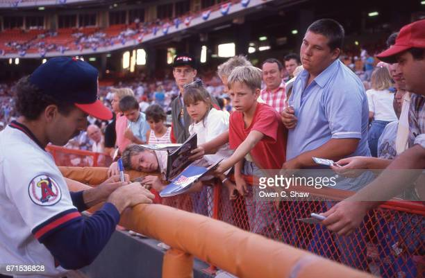 ANAHEIM CA De Wayne Buice of the California Angels circa 1988 signs autographs at the Big A in Anaheim California