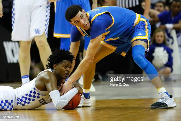 De'Aaron Fox of the Kentucky Wildcats and Lonzo Ball of the UCLA Bruins compete for a lose ball in the second half during the 2017 NCAA Men's...