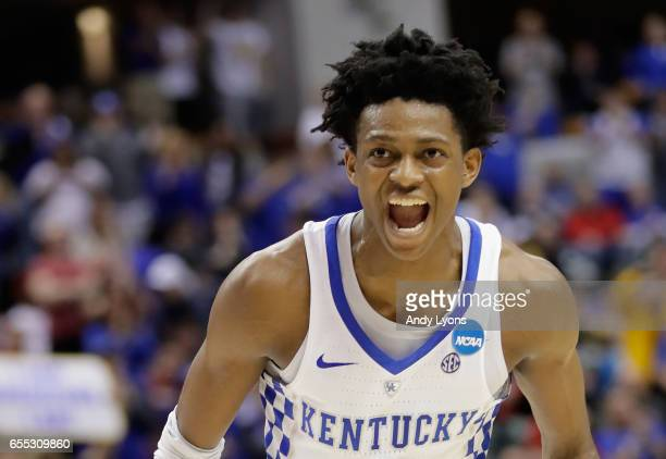 De'Aaron Fox of the Kentucky Wildcats celebrates his dunk against the Wichita State Shockers in the second half during the second round of the 2017...
