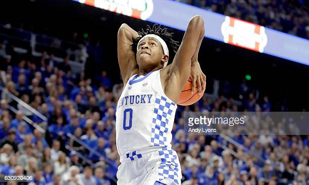 De'Aaron Fox of the Kentucky Wildcats goes up to dunk the ball during the game Texas AM Aggies at Rupp Arena on January 3 2017 in Lexington Kentucky