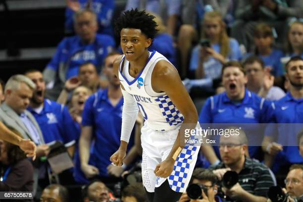 De'Aaron Fox of the Kentucky Wildcats reacts after a play in the second half against the UCLA Bruins during the 2017 NCAA Men's Basketball Tournament...