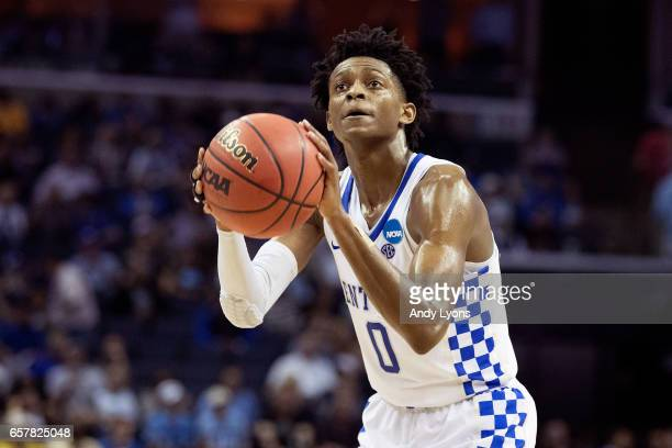 De'Aaron Fox of the Kentucky Wildcats shoots a free throw against the UCLA Bruins during the 2017 NCAA Men's Basketball Tournament South Regional at...