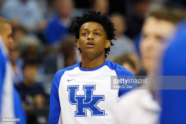 De'Aaron Fox of the Kentucky Wildcats warms up before the game against the North Carolina Tar Heels during the 2017 NCAA Men's Basketball Tournament...