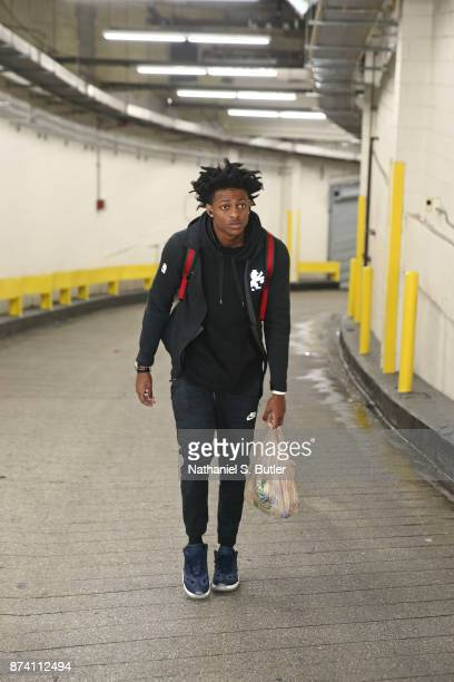 De'Aaron Fox of the Sacramento Kings arrives at the arena before the game against the New York Knicks on November 11 2017 at Madison Square Garden in...