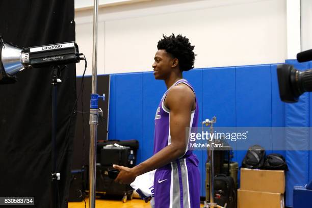 DeAaron Fox of the Sacramento Kings behind the scenes during the 2017 NBA Rookie Photo Shoot at MSG training center on August 11 2017 in Tarrytown...