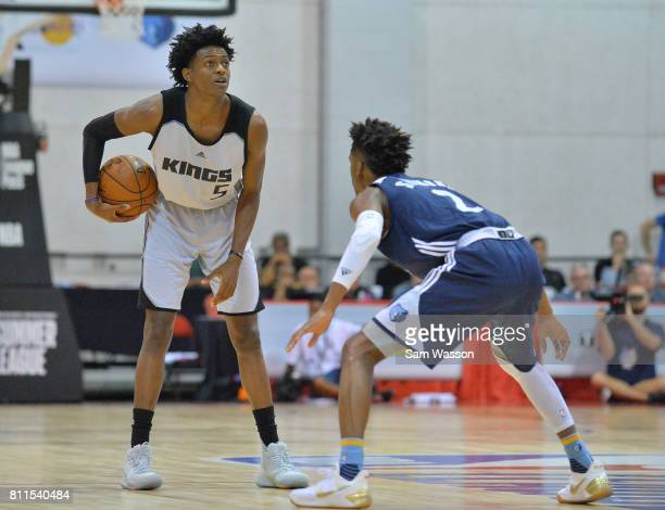 De'Aaron Fox of the Sacramento Kings dribbles against Kobi Simmons of the Memphis Grizzlies during the 2017 NBA Summer League game at the Cox...