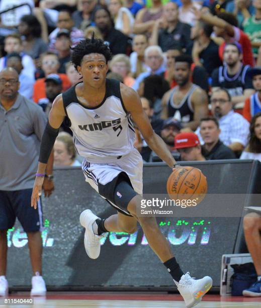 De'Aaron Fox of the Sacramento Kings dribbles against the Memphis Grizzlies during the 2017 NBA Summer League game at the Cox Pavilion on July 9 2017...