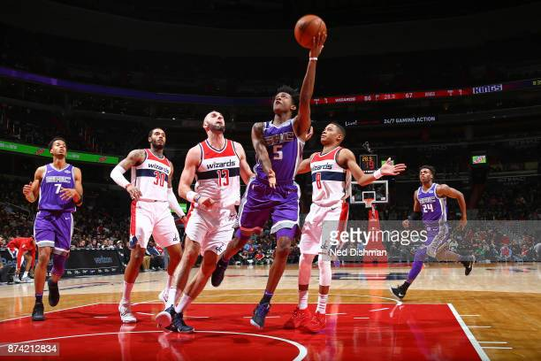 De'Aaron Fox of the Sacramento Kings drives to the basket and shoots the ball against the Washington Wizards on November 13 2017 at Capital One Arena...