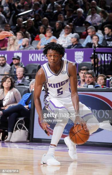 De'Aaron Fox of the Sacramento Kings handles the ball against the Philadelphia 76ers on November 9 2017 at Golden 1 Center in Sacramento California...