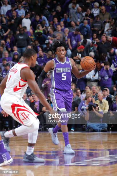 De'Aaron Fox of the Sacramento Kings handles the ball against the Houston Rockets during the game on October 18 2017 at Golden 1 Center in Sacramento...