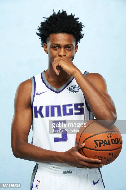 De'Aaron Fox of the Sacramento Kings poses for a photo during the 2017 NBA Rookie Shoot on August 11 2017 at the Madison Square Garden Training...
