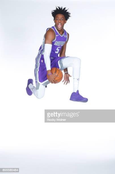 De'Aaron Fox of the Sacramento Kings poses for a photo on media day September 25 2017 at the Golden 1 Center in Sacramento California NOTE TO USER...