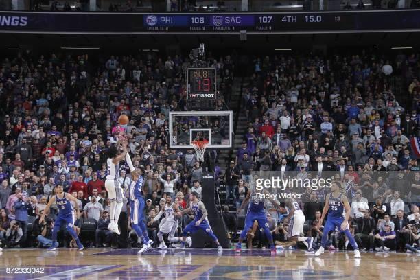 De'Aaron Fox of the Sacramento Kings shoots game winning shot against the Philadelphia 76ers on November 9 2017 at Golden 1 Center in Sacramento...