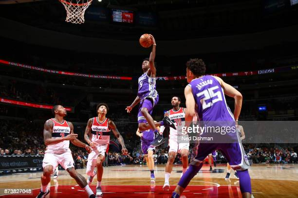 De'Aaron Fox of the Sacramento Kings shoots the ball against the Washington Wizards on November 13 2017 at Capital One Arena in Washington DC NOTE TO...
