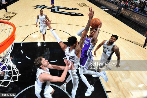 De'Aaron Fox of the Sacramento Kings shoots the ball against the San Antonio Spurs on October 6 2017 at the ATT Center in San Antonio Texas NOTE TO...