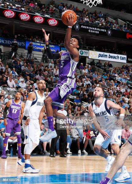 De'Aaron Fox of the Sacramento Kings shoots the ball during the game against the Dallas Mavericks on October 20 2017 at the American Airlines Center...