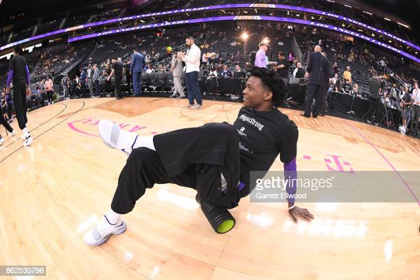 De'Aaron Fox of the Sacramento Kings warms up before a preseason game between the Sacramento Kings and Los Angeles Lakers on October 8 2017 at...