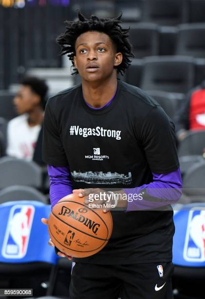 De'Aaron Fox of the Sacramento Kings wears a #VegasStrong Tshirt during warmups to honor victims of last Sunday's mass shooting before the team's...
