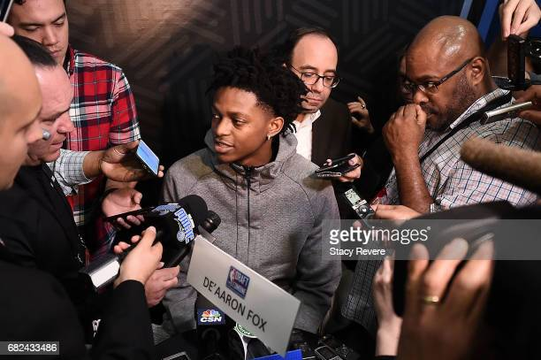 De'Aaron Fox speaks to reporters during Day Two of the NBA Draft Combine at Quest MultiSport Complex on May 12 2017 in Chicago Illinois NOTE TO USER...