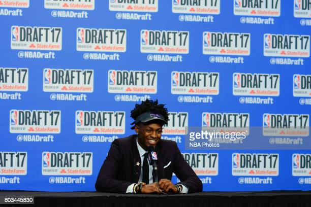 De'Aaron Fox speaks with the media after being selected fifth overall by the Sacramento Kings at the 2017 NBA Draft on June 22 2017 at Barclays...