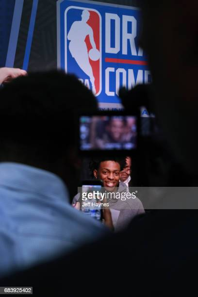 De'Aaron Fox talks with the media during the NBA Draft Combine Day 2 at the Quest Multisport Center on May 12 2017 in Chicago Illinois NOTE TO USER...