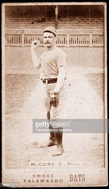 Deacon McGuire of the Philadelphia National League baseball club pose for a photo which the Kalamazoo Bats tobacco company issued as a card in 1887