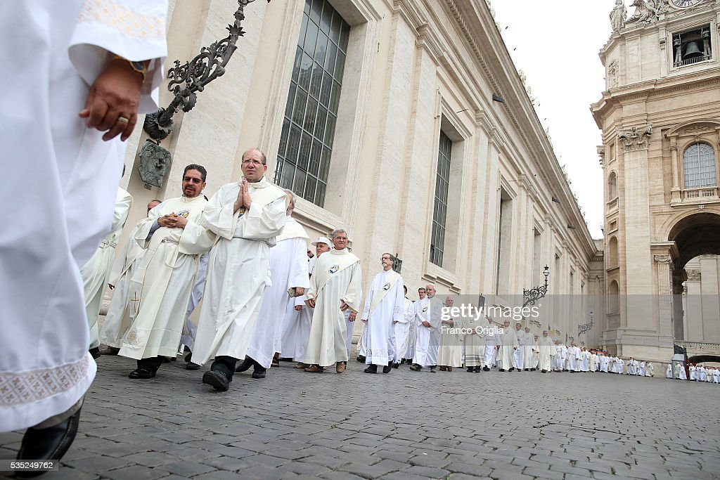 Deacons arrive in St. Peter's Square to attend the Mass for Jubilee of Deacons held by Pope Francis on May 29, 2016 in Vatican City, Vatican. The Church marked the Extraordinary Jubilee Year of Mercy in a special way with the Jubilee of Deacons. As their very title suggests taken as it is from the Greek word for 'servant', diakonos Deacons are ordained to a ministry of service in the Church.