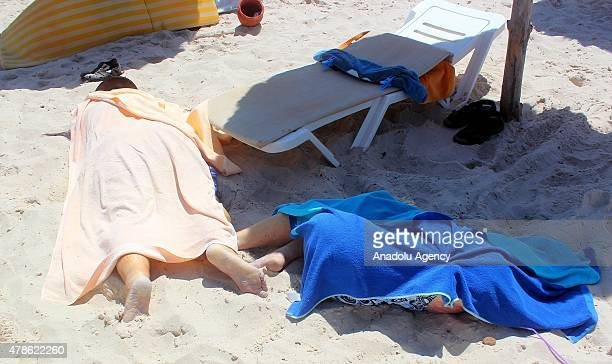 Dead bodies are seen after an armed attack on a tourist hotel in Sousse east Tunisia left at least 27 people dead including foreigners and injured...