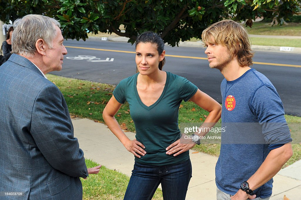 "'Dead Body Politic' '"" Pictured (L-R): Sam Anderson (Senator Dick Osborne), Daniela Ruah (Special Agent Kensi Blye) and Eric Christian Olsen (LAPD Liaison Marty Deeks). The"