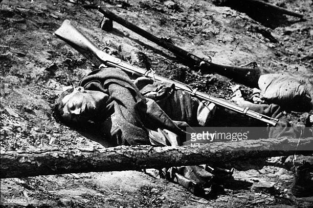 A dead Confederate soldier inn the trenches near Fredericksburg Virginia