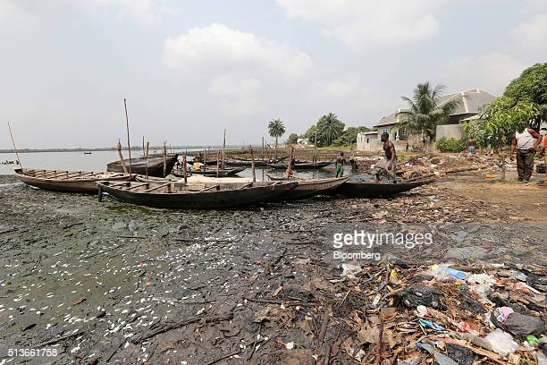 Dead fish lie on the shoreline near boats on an oil polluted river in Bodo Nigeria Wednesday Jan 13 2016 Twenty years after the oilpollution crisis...
