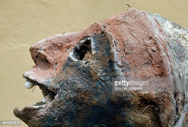 Dead person's skull modelled to look alive by the Small Nambas tribe Malakula Island Vanuatu