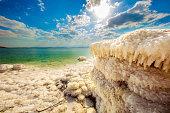wide angle shot of the sea salt - the dead sea