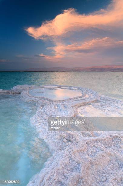 Dead Sea Shallow Waters at sunset
