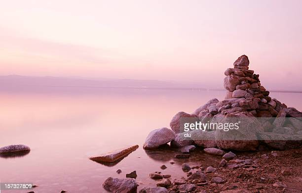 Dead sea sunset with stones