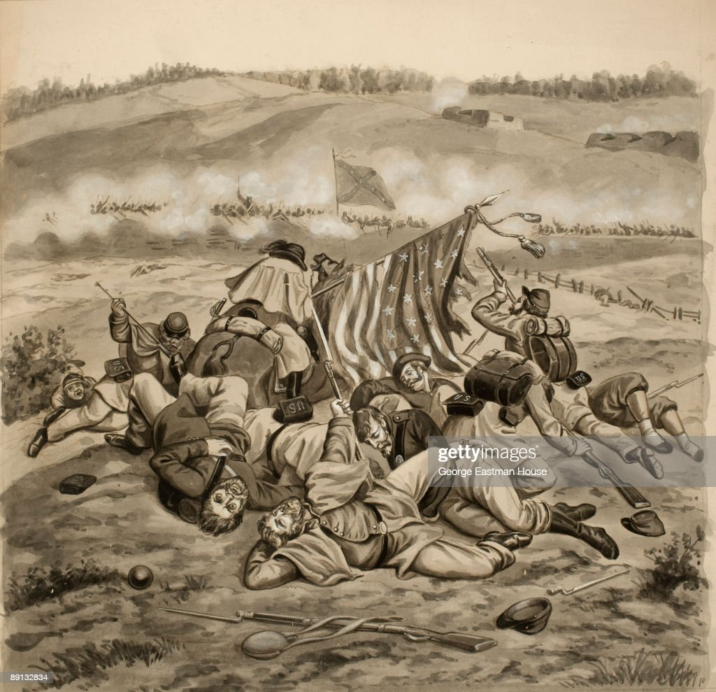 Dead soldiers of the 8th Ohio Infantry Dead lie gathered around the Union flag at the Battle of Fredericksburg VA ca1865 Drawing in ink and gouache...