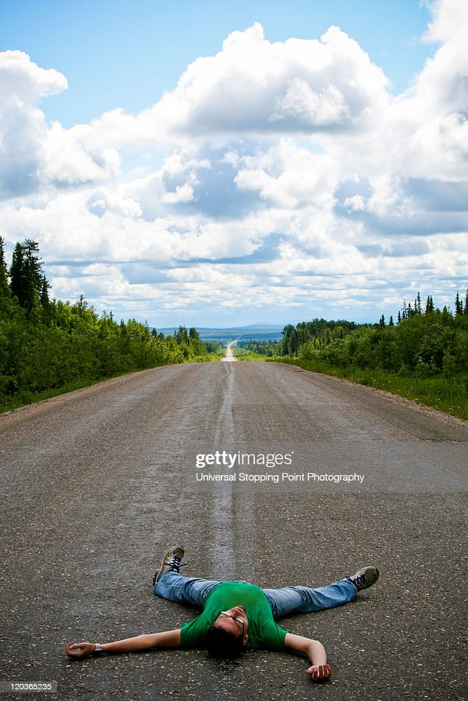 Dead traveler and Canadian skies : Stock Photo